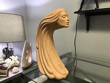 Mid Century Art Sculpture in Porcelain Beautiful Woman Face Vintage Decor