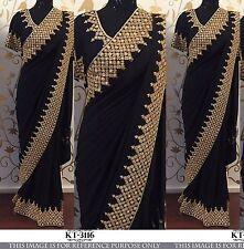 Bollywood Designer Party Wear Black  Color Georgette Fabric Golden Work Saree