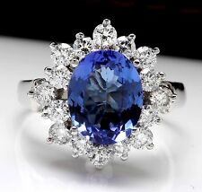 4.07 Carats NATURAL TANZANITE and DIAMOND 14K Solid White Gold Ring