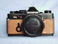 OLYMPUS OM-2N BLACK CAMERA BODY LIGHT BROWN LEATHER