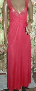Interludes Cira Hot Pink Sexy Plunge nylon long nightgown lace Sz M
