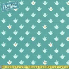 Riley Blake Fabric Wonderland 2 Tea Pot Sparkle in Teal HALF METRE
