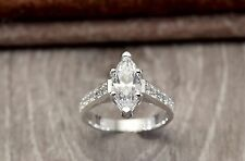 Certified 2.30Ct White Marquise Cut Diamond Engagement Ring 14K White Gold