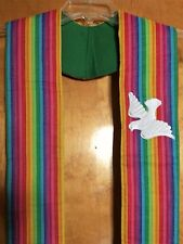 Vibrant Rainbow Clergy Stole Embroidered applique Descending white Dove Green