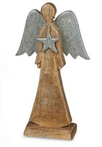 Formano Engel 32 cm Aluminium mit Mangoholz Dekoration