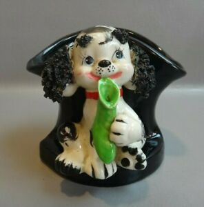 """VINTAGE RELPO SPAGHETTI TRIM DOG PUPPY PLANTER """"HOLDING SOCK IN MOUTH"""""""