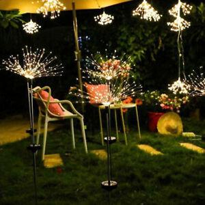 90 LED Solar Powered Firework Starburst Stake Light Warm White Garden Decoration