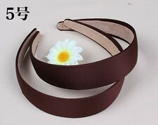 COFFEE WIDE PLASTIC HEADBAND HAIR BAND WHOLESALE LOTS SATIN HEADWEAR LOVER Hot