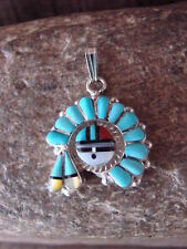 Native American Indian Jewelry Turquoise Inlay Sunface Bonnet Pendant - Lonjose
