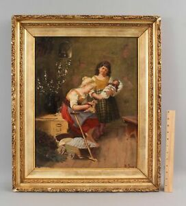 19thC Antique Signed American Genre Oil Painting, Young Girls Dolls & Toy Wagon