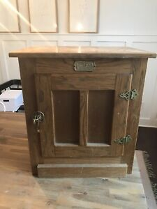 Vintage White Clad Ice Box Oak Side Table Night Stand Plant Stand Cabinet !!