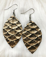 Bronze Pine cone  Teardrop Faux Vegan Leather Earrings  2.5 Inch Super Nice