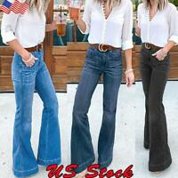 Women Skinny Flare Denim Jeans Wide Leg Bell Bottom Pants Jeggings Slim Trousers