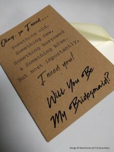 Will You Be My Bridesmaid Greeting Card Wedding Gift Brides Maid - Singles/Pack4