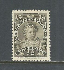 NEWFOUNDLAND SCOTT 78 MH VF - 1898 1/2c OLIVE GREEN ISSUE   CAT $4.50