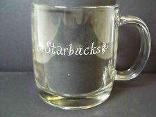Starbucks heavy tempered glass mug etched script name both sides 10 oz