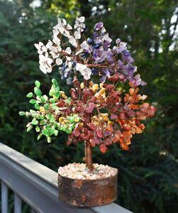 Large Natural Chakra Gemstone Crystal Tree Reiki Charged Decorative Accessory