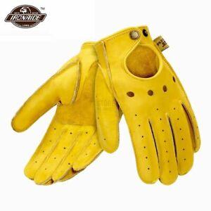 Sheepskin Leather Made Motorcycle Gloves Vintage Retro Biker Touchscreen Moto