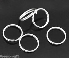 300 PCs Silver Plated Double Loops Open Jump Rings 12mm