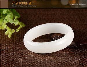 100% natural beautiful New Solid Chunky White Jade Bangle Bracelet 58-60mm AAA
