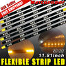 8x Amber Yellow Waterproof 30cm 15 LED Car Motors Truck Flexible Strip Lights US