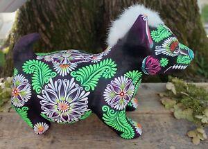 Lg Punk Colima Dog Day of the Dead Papier-Mâché Hand Painted Mexican Folk Art