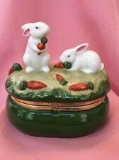 Easter Bunny Rabbit Pair Ceramic Jewel Trinket Keepsake Box Green White Used