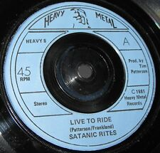 Satanic Rites Live To Ride Hit and Run 45 Heavy Metal Records Rare UK No PS MINT
