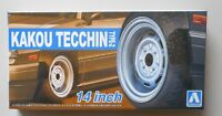 "1/24 Kakou Tecchin Type 2 14"" Tire Wheel Set AOSHIMA CAR MODEL ACCESSORY"