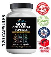 Premium Collagen Peptides 120 capsules  Hydrolyzed Anti-Aging Protein Powder cap