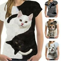 Women Unisex New Funny 3D Print Animal Summer Short Sleeve T-Shirts Tops Blouse