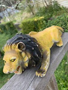 Large 34cm Vintage Ferocious Lion Toy Animal Solid Quality Plastic