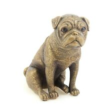 Bronzed Sitting Pug Dog Sculpture Resin Figure Decorative Ornament Home Figurine