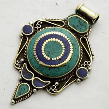 Turquoise Lapis Pendant Brass Tibetan Nepalese Ethnic Tribal Tibet Nepal UP980