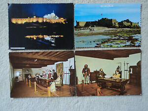 4 large old colour  PC's Elizabeth Castle, Jersey. Unposted. Floodlit, Daylight.
