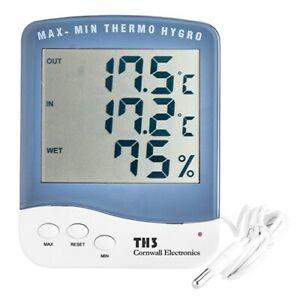Hygrometer / Thermometer Cornwall  mit Sonde Termperaturanzeige inkl. Batterie