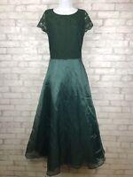 JS Collection Women Dress Green Gown Crochet Lace Top Chiffon Full Skirt Size 14