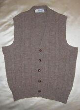 Vintage PRINGLE Shetland Cable Cardigan Sweater Vest 40 Made in Scotland