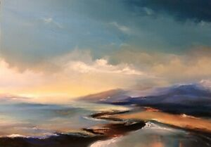 """Original Oil Painting Signed Art 12 x 8.5"""" - Abstract Lands"""