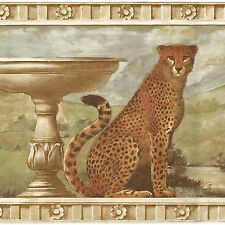 Golden Cheetah Cats on Architectural Ruins - ONLY $9 - Wallpaper Border A250