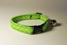 Wet Nose Designs Tiny Pink Hearts on Lime Green Cat Collar Valentines Day