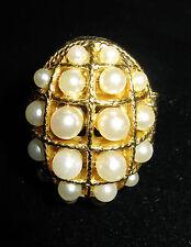 Vintage 1980s Avon Multi Faux Pearl Adjustable Ring Perfume Locket