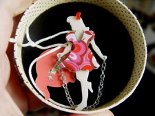 ERSTWILDER SKIPPING SUZIE  GIRL RESIN BROOCH