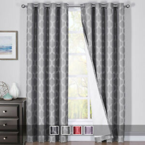2X Alana 100% Blackout Window Curtain Panels Heat and Full Light Blocking Drapes