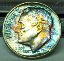 SILVER RAINBOWS BLUES, TEALS, ROSE GOLDS GEM BU 1959-P SILVER ROOSEVELT RAINBOWS