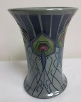 "MOORCROFT POTTERY PEACOCK PARADE TRIAL VASE 1ST QUALITY - HEIGHT 6.25"" /15.9CM"