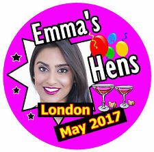 25 X HEN NIGHT PERSONALISED - BIG  BADGES WITH PHOTO / DATE/PLACE/NAME - NEW