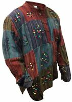 Mens Stripe Patchwork Grandad Shirt Full Sleeve Bright Patchwork Colorul Top