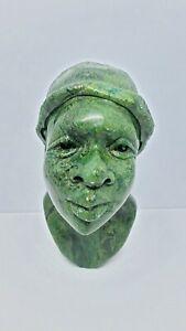 Small African Green Verdite Stone Sculpture, Woman Bust