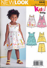 NEW LOOK SEWING PATTERN 6441 TODDLERS/GIRLS ½-4 EASY DRESSES TOP & CROPPED PANTS